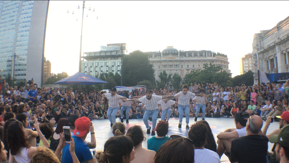 Rootless Crew in front of a big crowd in Milan during Red Bull Dance Your Style
