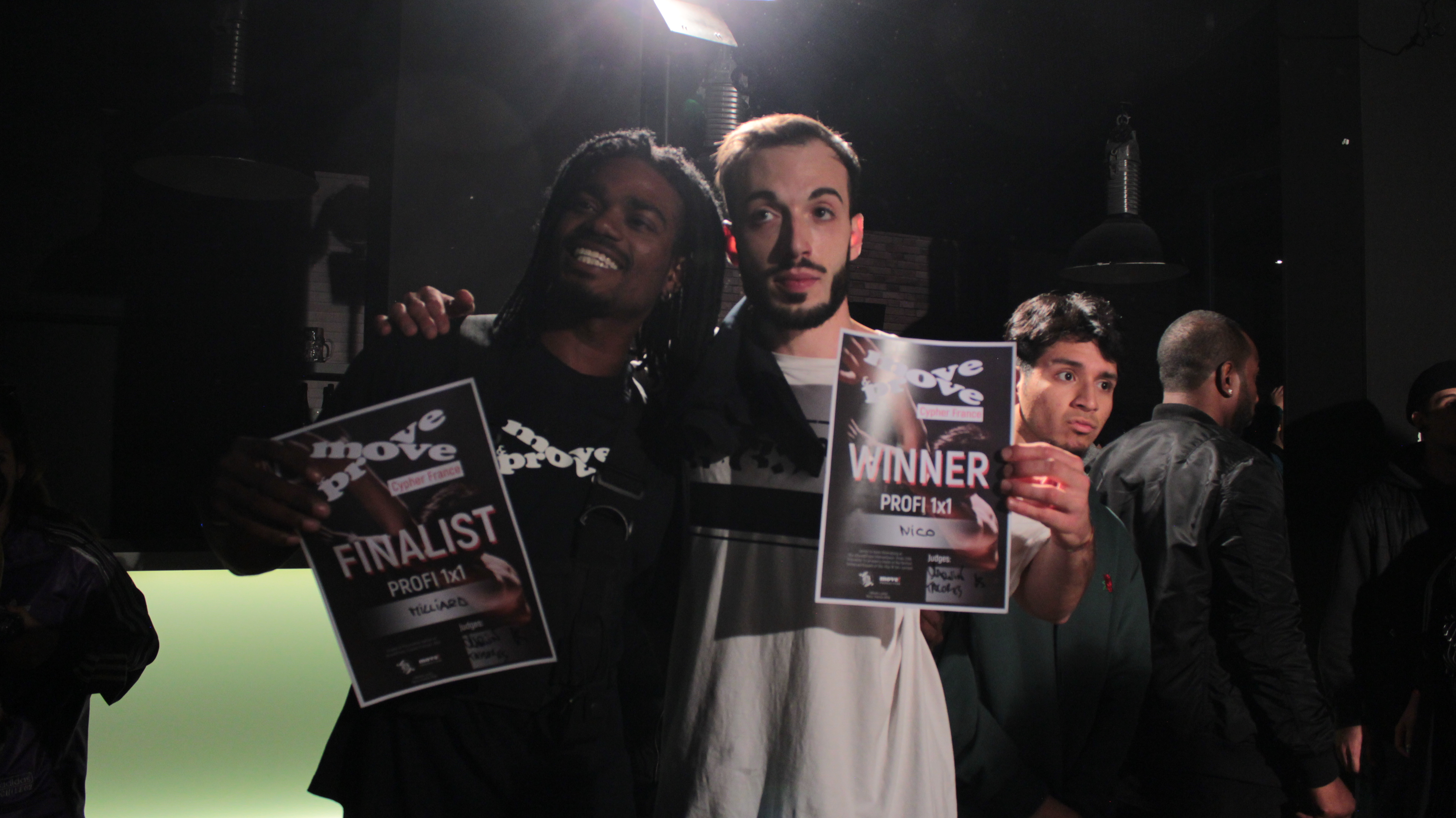 Milliard (2nd place / Rk) and Nico (1st place, Rootless) after Move&Prove France Cypher final in Paris