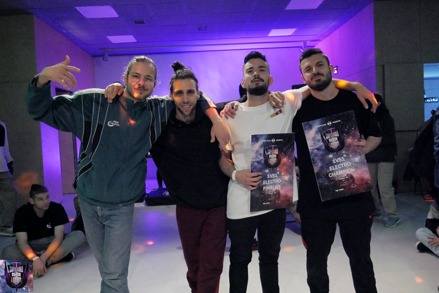 From left to right, Varon (staff SDL), Drew (judge), Syler and Jeff after Supreme Dance League 2019 final in Thessaloniki (Greece)