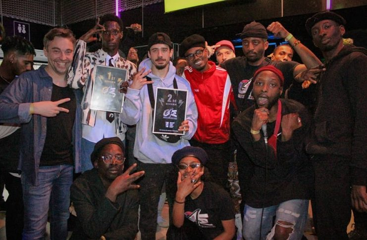 Taylor and Sale, the finalist of Only4Electro with judges, organizers and speakers after the last battle.